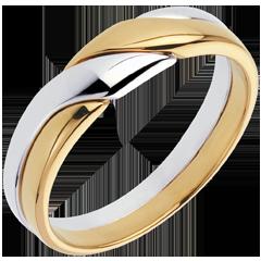 خاتم أتراكسيون من الذهب الأبيض والذهب الأصفر عيار 18 قيراط