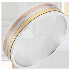 خاتم لاسيت ثلاثة ألوان من الذهب عيار 18 قيراط