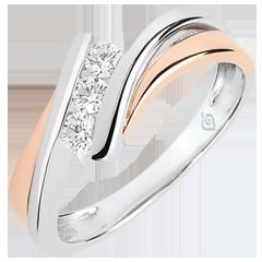 خاتم خطوبة العش الثمين ـ ثلاثي الألماس موديل كبير ـ الذهب الوردي و الذهب الأبيض 18 قيراط