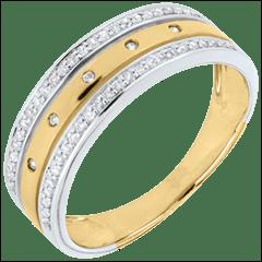 خاتم فيري ـ تاج النجوم ـ موديل كبير ـ ذهب أبيض وذهب أصفر عيار 18 قيراط