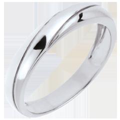 خاتم زواج ثلاثي زحل ـ الذهب الأبيض 18 قيراط