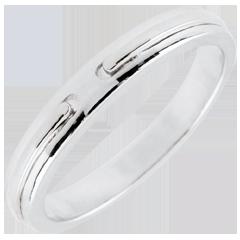 خاتم زواج پروميس ـ الذهب الأبيض 18 قيراط ـ حجم صغير