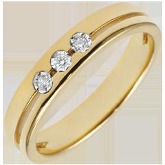 خاتم زواج ثلاثي أولمپيا ـ نموذج صغير ـ الذهب الأصفر 18 قيراط
