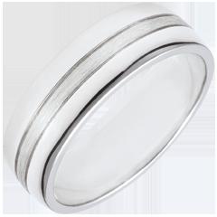 خاتم زواج ستار ـ نموذج كبير ـ ذهب أبيض 18 قيراط