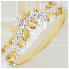 خاتم الحديقة المسحورة ـ أوراق الشجر الملكية ـ الألماس و الذهب الأصفر18 قيراط