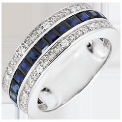 خاتم كونستيلاسيون ـ زودياك ـ الياقوت الأزرق والألماس ـ من الذهب الأبيض 18 قيراط