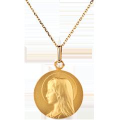 ميدالية العذراء كبيرة الحجم 20 مم ـ الذهب الأصفر 18 قيراط
