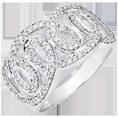 Anello Destino - Volute imperiali - oro bianco 9 carati e diamanti