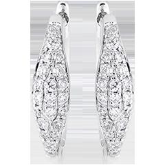 Boucles d'oreilles mini créoles - Larmes pavées - or blanc 18 carats et diamants