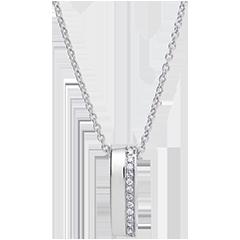 Pendentif Cartoucha - or blanc 18 carats et diamants