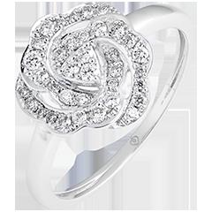 Anillo de compromiso Eclosión - Nina - oro blanco de 18 quilates y diamantes