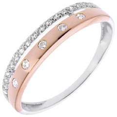 خاتم فيري ـ تاج النجوم ـ حجم صغير ـ 22 ماسة ـ ذهب أبيض وذهب وردي عيار 18 قيراط