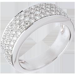 Anello Costellazione - Variazione astrale - oro bianco lastricato - 0.72 carati