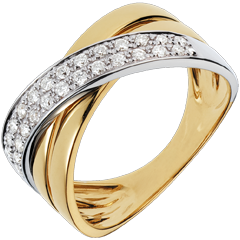Bague Saturne large - or jaune et or blanc - 0.26 carat - 26 diamants