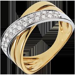 Anello Saturno largo - oro giallo e oro bianco - 0.26 carati - 26 diamanti