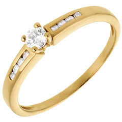 Solitaire Octave or jaune  - diamant 0.16 carats