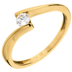 Solitario Nido Precioso - Apóstofe - oro amarillo - diamante 0.16 quilates - 18 quilates