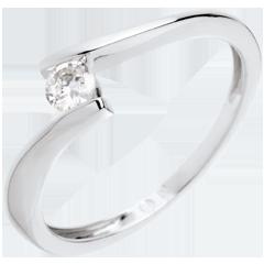 Solitario Nido Prezioso - Apostrofo- oro bianco - diamante 0.16 carato - 18 carati