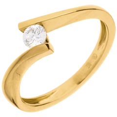 Solitario Nido Precioso - Apóstrofe - oro amarillo - diamante 0.2 quilates - 18 quilates