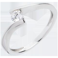 Solitario Nido Prezioso - Apostrofe - oro bianco - diamante 0.2 carato - 18 carati