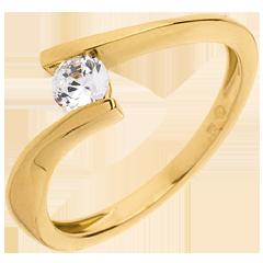 Solitario Nido Precioso - Apóstofe - oro amarillo - diamante 0.26 quilate - 18 quilates