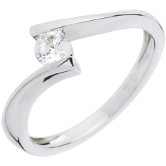 Solitaire Nid Précieux - Apostrophe - or blanc - diamant 0.26 carat - 18 carats