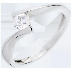 Solitaire Nid Précieux - Apostrophe - or blanc - 0.31 carat - 18 carats