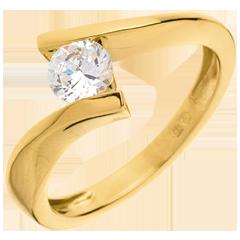 Solitario Nido Precioso - Apóstrofe - modelo muy grande - oro amarillo - 0.52 quilates - 18 quilates