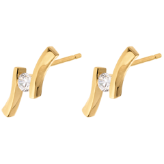 Boucles d'oreilles apostrophe diamants - puce or jaune - 0.19 carat
