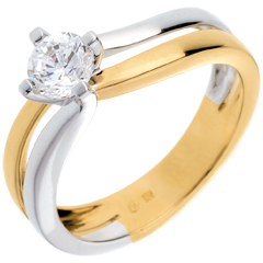 Solitaire sillon or jaune-or blanc (TGM)  - 0.52 carats