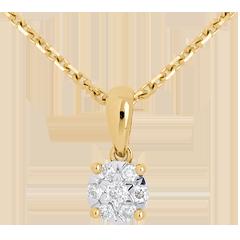 Colgante rosetón y campanita oro amarillo - 7 diamantes