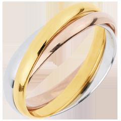 خاتم زواج زحل ـ نموذج متوسط ـ 3 ألوان ذهب ـ 3 حلقات ـ الذهب 18 قيراط