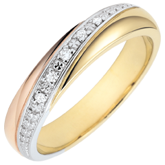 خاتم زواج زحل ـ ثلاثي ـ 3 ألوان من الذهب والألماس ـ ذهب 9 قيراط