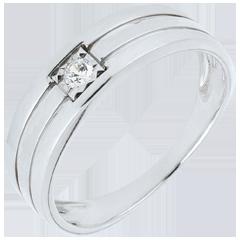 خاتم سوليتير 3 صفوف من الذهب الأبيض 9 قيراط