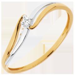Anello Solitario Nido Prezioso - Eloïse - oro bianco ed oro giallo - 18 carati