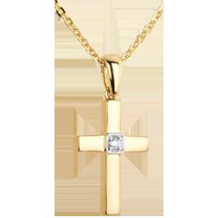 Diamantanhänger Kreuz in Gelbgold