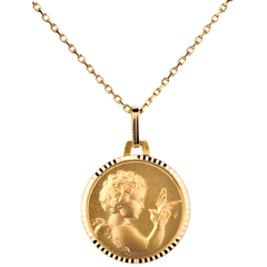 Médaille Ange à l'oiseau 14mm - or jaune 18 carats