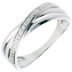 Bague Saturne Duo variation - or blanc - 4 diamants