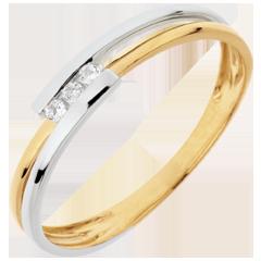 Anello Nido Prezioso - Adorazione - oro bianco ed oro giallo - 18 carati