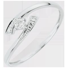 Anello Solitario Nido Prezioso - Dimmi di sì - Oro bianco - 18 carati