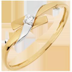Solitario Nido Precioso - Paraíso - oro amarillo y  oro blanco - 18 quilates