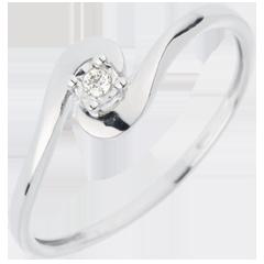 Anello Solitario Nido Prezioso - Unione D'amore - oro bianco - 18 carati