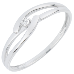 Solitario Nido Precioso - Unión Blanca - oro blanco  - 18 quilates