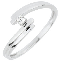 Anello Solitario Nido Prezioso - Amore per  Sempre - oro bianco - 18 carati