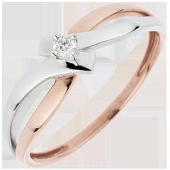 Anello Solitario Nido Prezioso - Luce- diamante - 0.05 carato - 18 carati