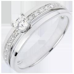 Anillo de Pedida Solitario Destino - Mi Reina - pequeño modelo - oro blanco - diamante 0. 20 quilates