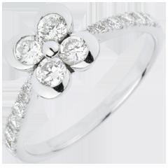 Anello Solitario Sboccio - Quadrifoglio degli Innamorati variazione - Oro bianco - 18 carati - 14 Diamanti - 0.73 carati