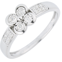 Anello Solitario Sboccio - Quadrifoglio degli Innamorati - Oro bianco - 18 carati - 12 Diamanti - 0.148 carati