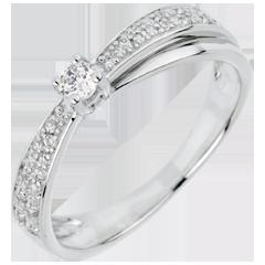 Anello di Fidanzamento Destino - Diafana - oro bianco - 18 carati