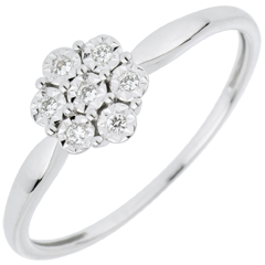 Pierścionek Świeżość z jednym diamentem - Płatkowy Kwiat - 7 diamentów - złoto białe 18-karatowe
